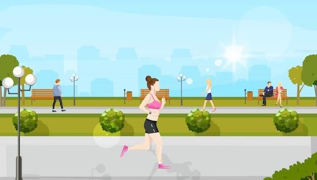 Donna che corre nel parco Vettore Premium
