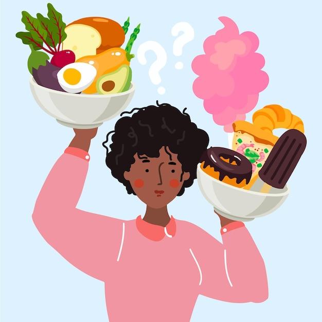 Donna che deve scegliere tra cibo sano e malsano Vettore gratuito