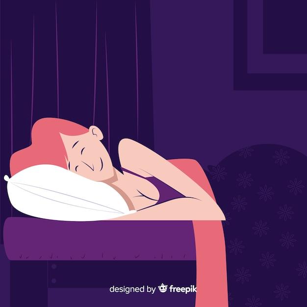 Donna che dorme nel letto Vettore gratuito