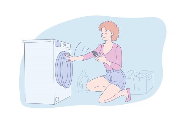 Donna che fa l'illustrazione della lavanderia Vettore Premium