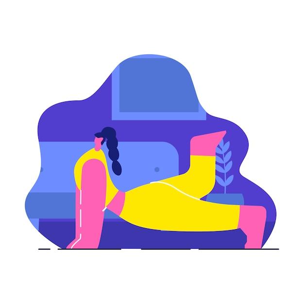 Donna che fa l'illustrazione piana di vettore di yoga dell'interno Vettore Premium