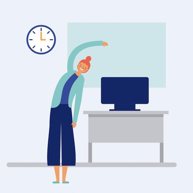 Donna che fa pausa attiva all'ufficio con lo scrittorio ed il computer sopra, stile piano Vettore gratuito