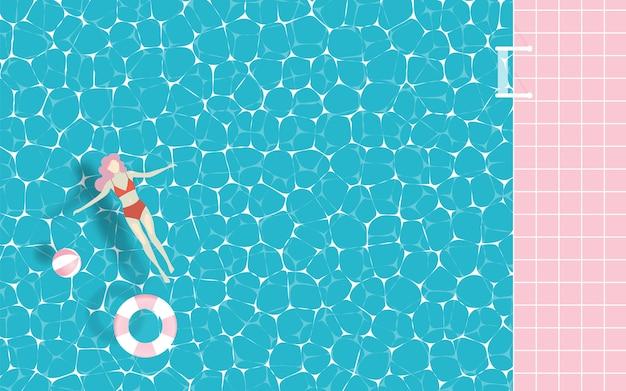 Donna che galleggia in piscina Vettore Premium