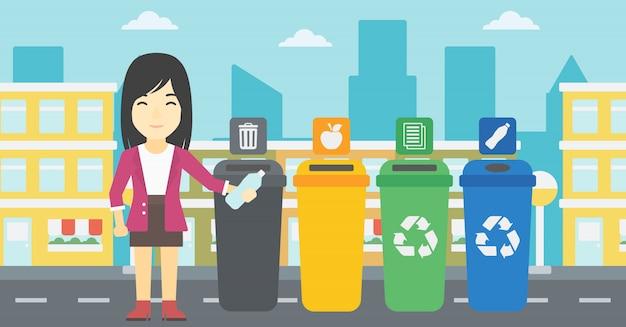 Donna che getta via la bottiglia di plastica. Vettore Premium