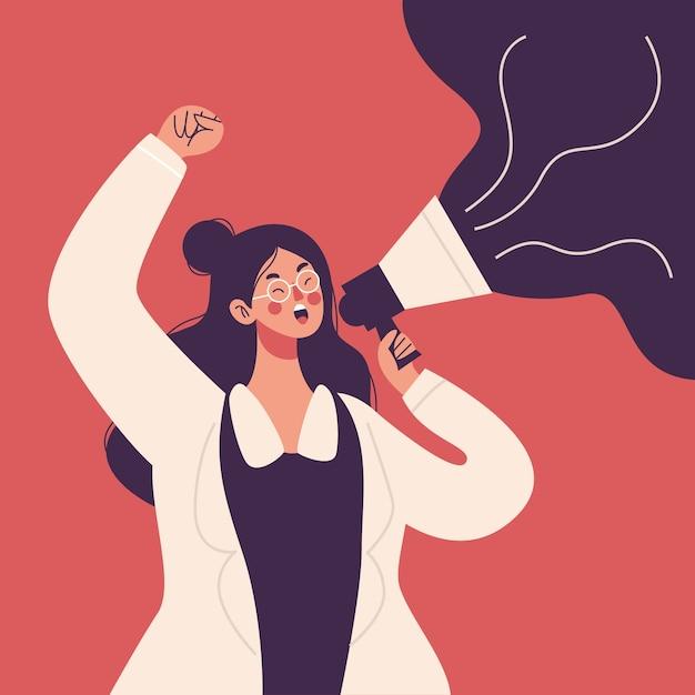 Donna che grida con un megafono Vettore gratuito