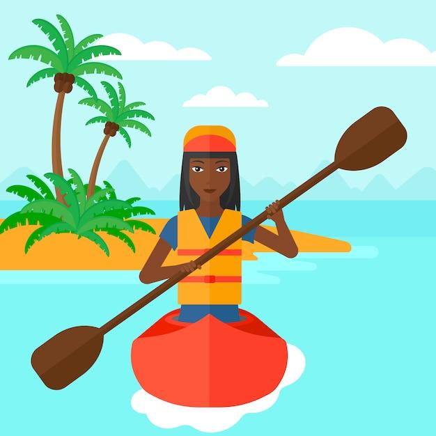 Donna che guida in canoa Vettore Premium