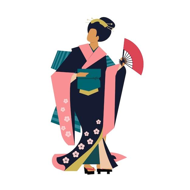 Donna che indossa abiti tradizionali giapponesi Vettore Premium