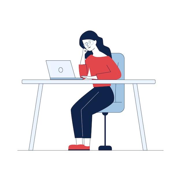 Donna che lavora con il computer portatile Vettore gratuito