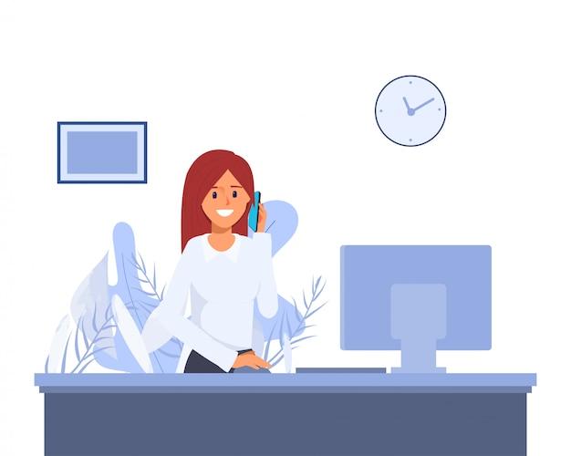 Donna che lavora in funzione presso l'hotel lobby. call center o carattere di ricezione. lavoro di servizio alberghiero Vettore Premium