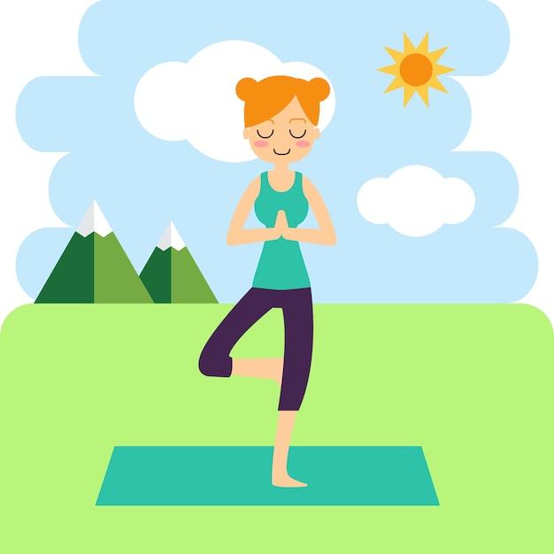 Donna che praticano yoga sullo sfondo. Vettore gratuito