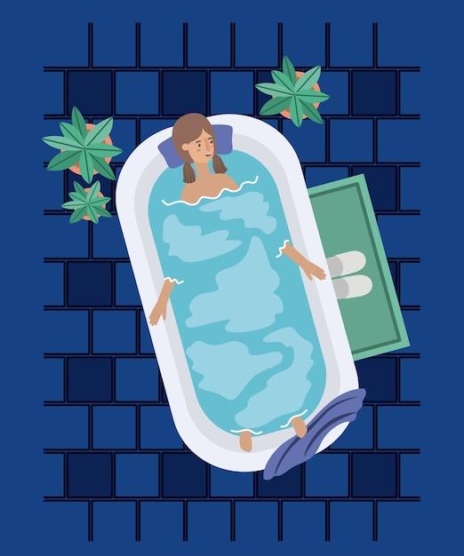 Donna che prende una progettazione dell'illustrazione di vettore della vasca da bagno Vettore Premium