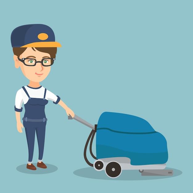 Donna che pulisce il pavimento del negozio con una macchina. Vettore Premium
