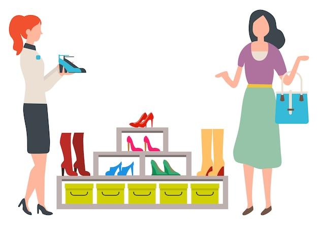 Donna che sceglie le scarpe nella boutique di moda Vettore Premium