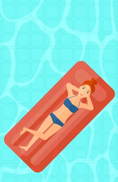 Donna che si distende nella piscina. Vettore Premium