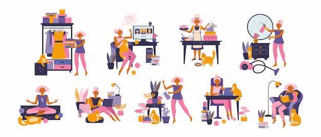 Donna che si gode il tempo libero, che svolge attività ricreative e che fa hobby - giardino domestico, meditazione, lettura di libri, cucina, libero professionista, studio online, pulizia, con un animale domestico. trascorrere del tempo a casa Vettore Premium