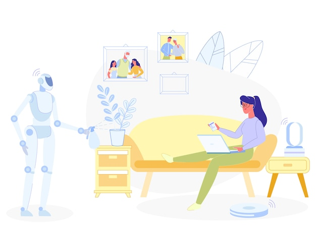 Donna che si rilassa a casa robot che fa i lavori domestici Vettore Premium