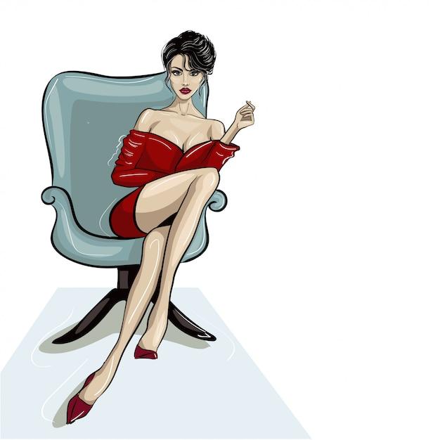 Donna che si siede in poltrona tenendo in mano Vettore Premium