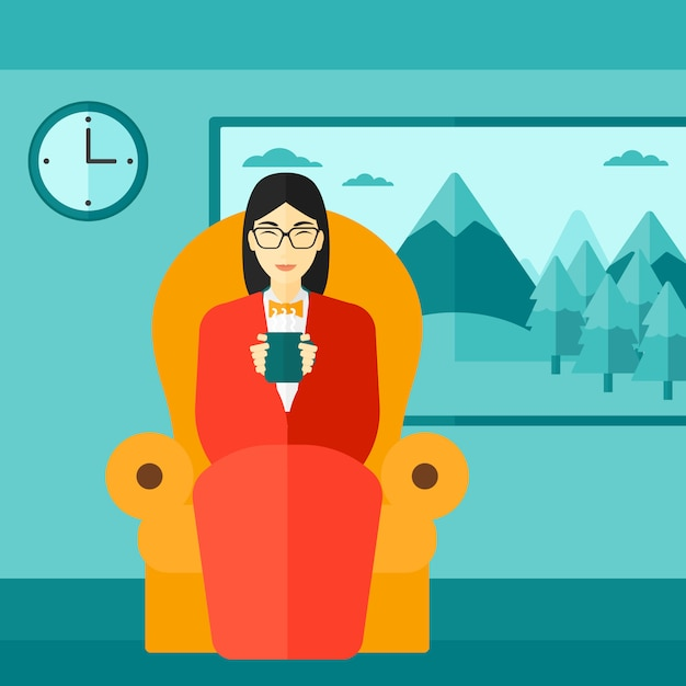Donna che si siede nella sedia con la tazza di tè Vettore Premium