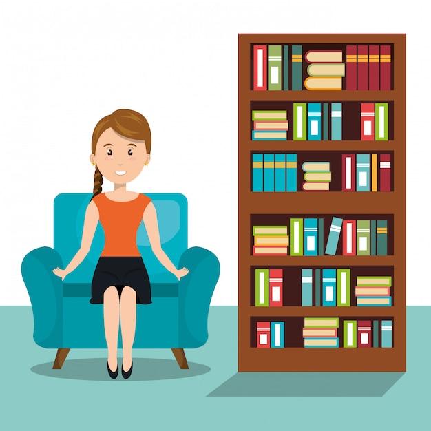 Donna che si siede sull'icona divano Vettore Premium