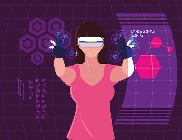 Donna che utilizza la tecnologia della realtà aumentata Vettore Premium