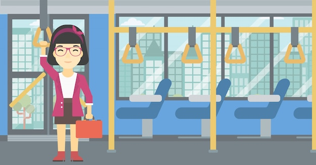 Donna che viaggia con i mezzi pubblici. Vettore Premium