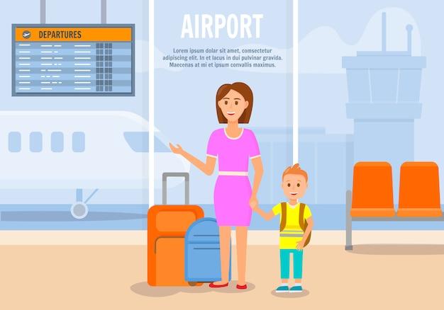 Donna che viaggia insieme a little son. Vettore Premium