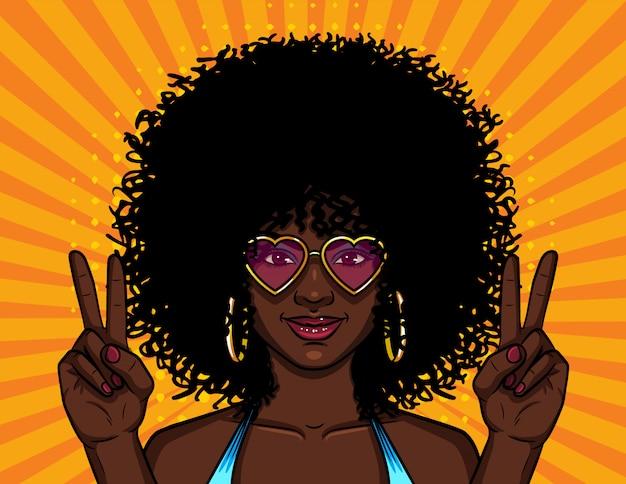 Donna con acconciatura afro riccia Vettore Premium