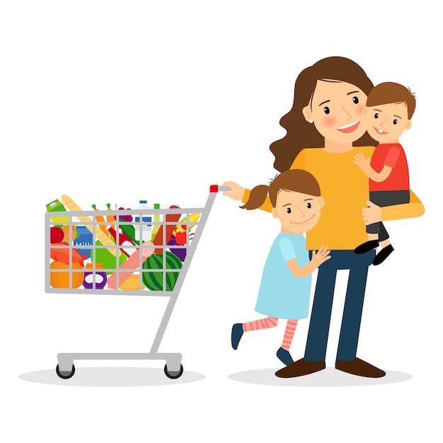 Donna con bambini e carrello di shopping Vettore Premium