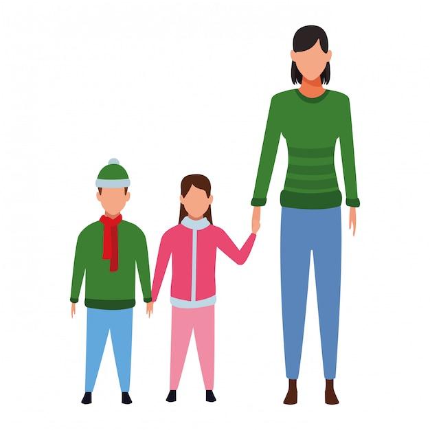 Donna con bambini Vettore Premium