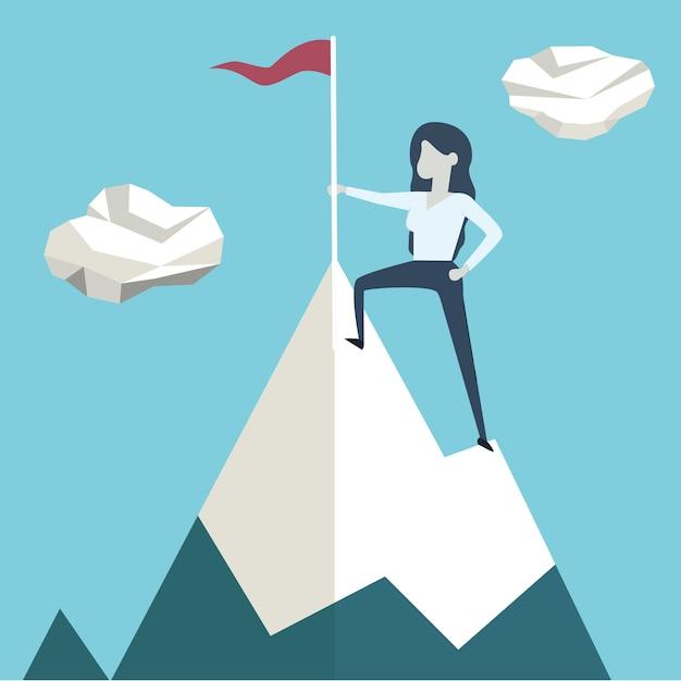 Donna con bandiera su un picco di montagna Vettore Premium