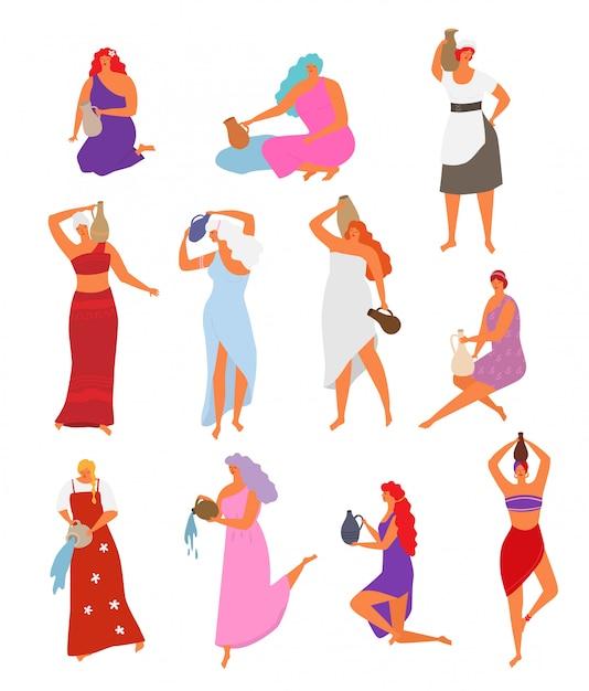 Donna con brocca bella ragazza con acqua di versamento capelli lunghi da jugful. insieme dell'illustrazione dei personaggi femminili, donne ballanti in vestito etnico con la brocca isolata su bianco Vettore Premium