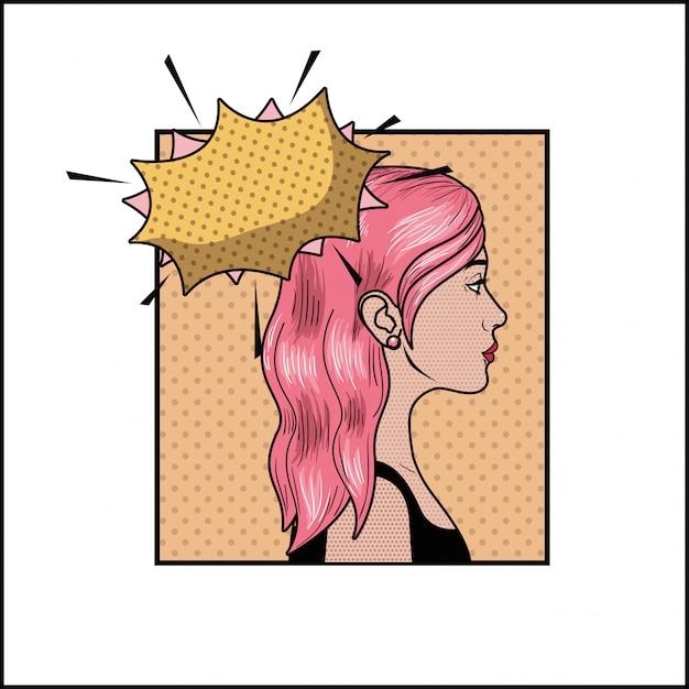 Donna con capelli rosa e stile fumetto pop art   Vettore ...
