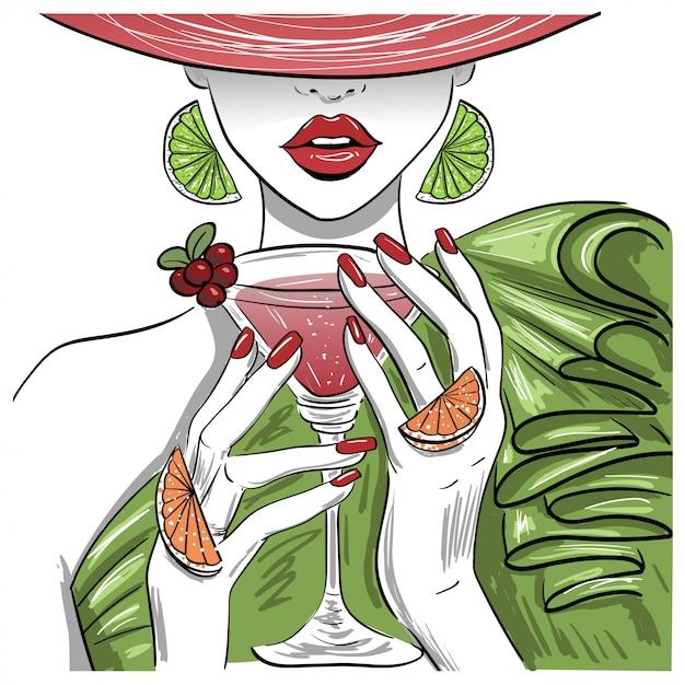 Donna con cocktail di agrumi martini nel cappello Vettore Premium