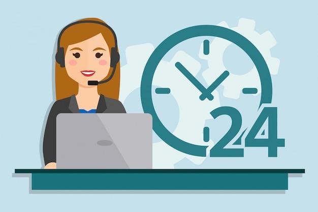 Donna con computer indossando cuffie Vettore Premium