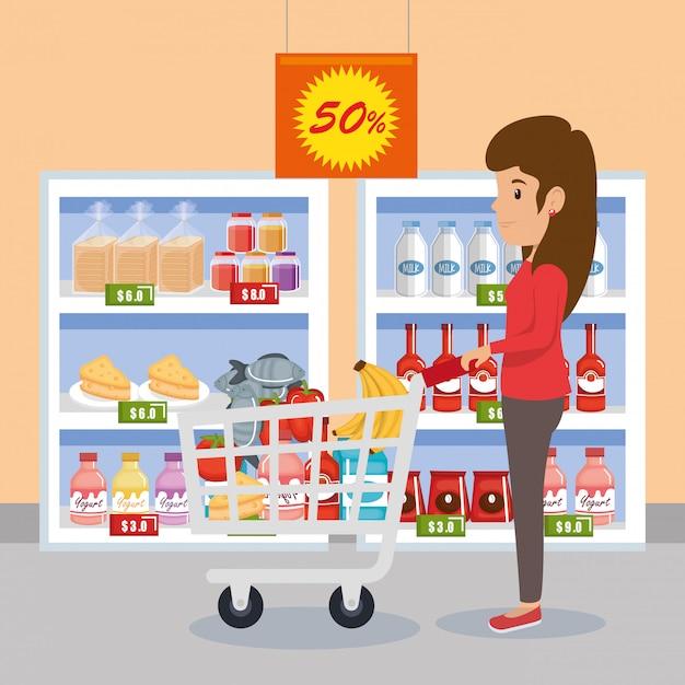 Donna con generi alimentari del supermercato Vettore gratuito