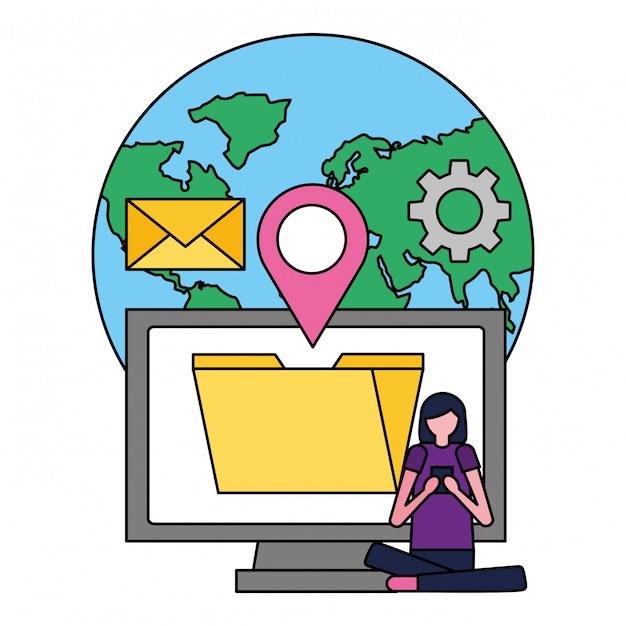 Donna con i media sociali di posizione del file del mondo mobile Vettore Premium