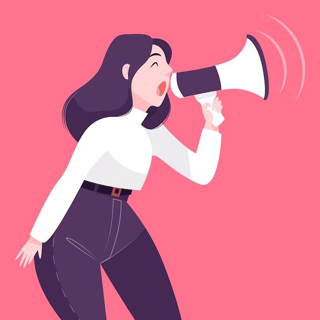 Donna con il megafono che grida illustrato Vettore gratuito