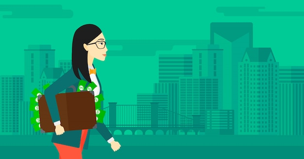 Donna con la valigia piena di soldi. Vettore Premium