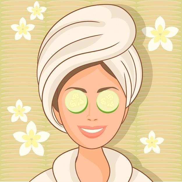 Donna con maschera facciale di cetriolo Vettore Premium