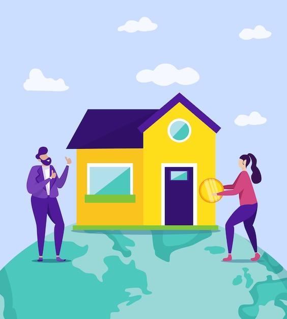 Donna con moneta e uomo vicino a new house. . Vettore Premium