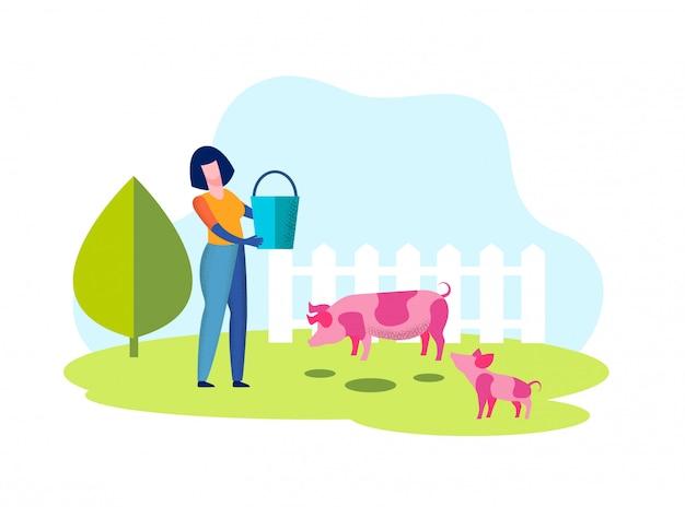 Donna con secchio in mano. maiale in voliera in fattoria. Vettore Premium