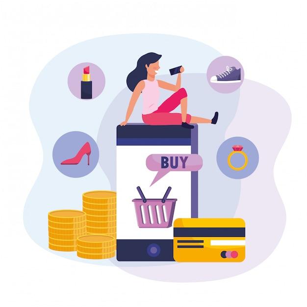 Donna con smartphone e shopping online con carta di credito Vettore Premium