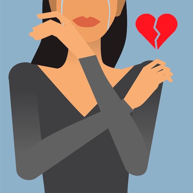 Donna con un'illustrazione di cuore spezzato Vettore gratuito