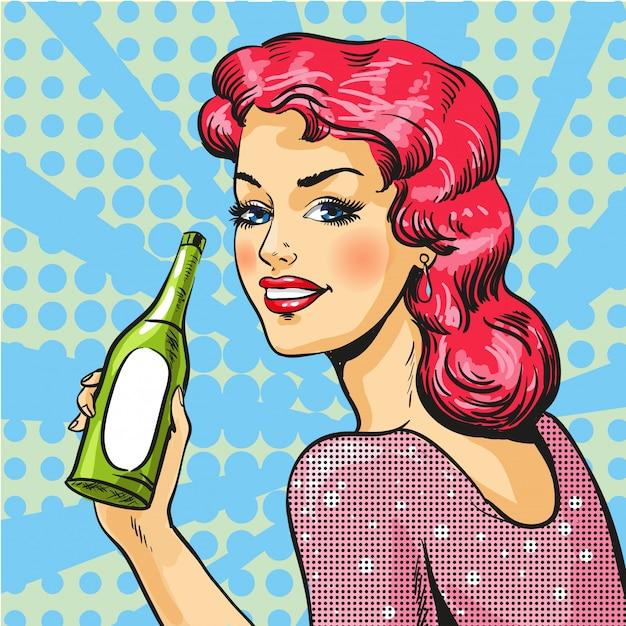 Donna con vino in stile pop art Vettore Premium