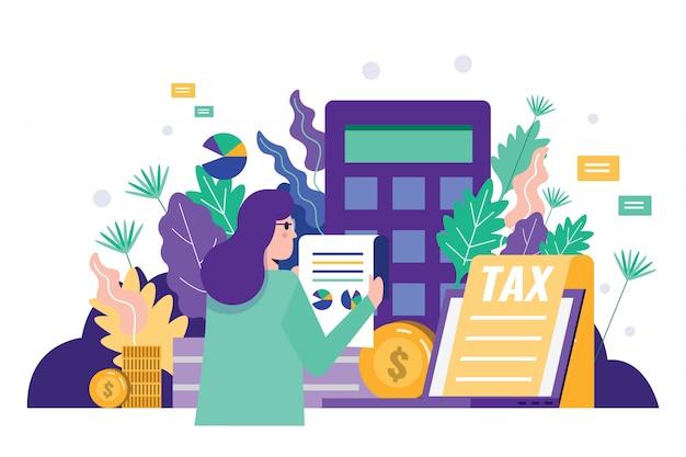 Donna d'affari che legge il documento fiscale per verificare i dati finanziari. Vettore Premium