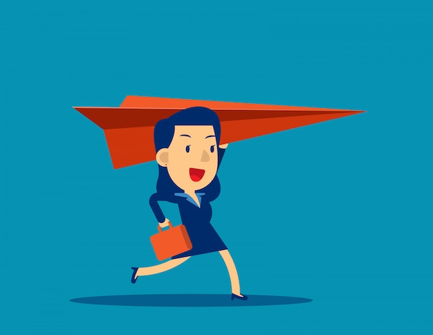 Donna d'affari e aeroplano di carta Vettore Premium