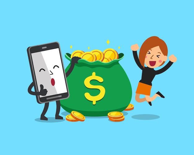 Donna d'affari e smartphone con borsa dei soldi Vettore Premium