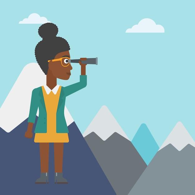 Donna d'affari guardando attraverso il cannocchiale. Vettore Premium
