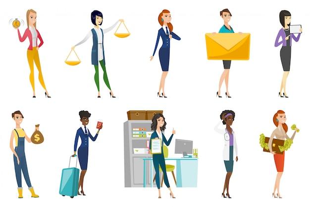 Donna d'affari, hostess, set di professione medico Vettore Premium