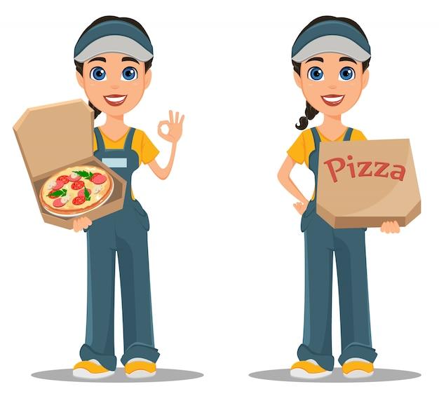Donna del corriere che trasporta pizza Vettore Premium